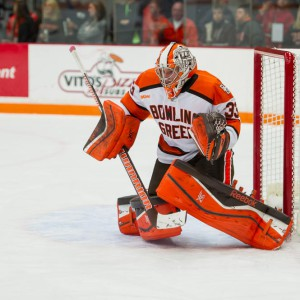 Chris Nell prepares to make a save during a 2-0 win against Ohio State Oct. 10 in the Ice Arena. (Photo by Todd Pavlack.BGSUHockey.com)