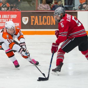 Bowling Green's Jakob Reichert (left) defends against Ohio State's 	Victor Björkung earlier this season in the Ice Arena. (Photo by Todd Pavlack/BGSUHockey.com).